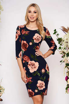 Darkblue daily pencil dress slightly elastic fabric with floral print 3/4 sleeve