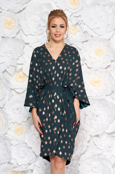 Darkgreen dress with easy cut with dots print with bell sleeve