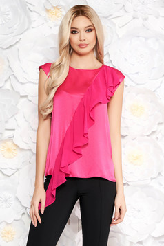 Fuchsia women`s blouse short sleeves with ruffle details