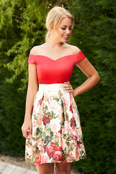 StarShinerS occasional short cut cloche red dress from satin with floral print and detachable cord
