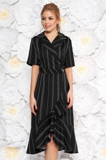 Black daily dress short sleeves with ruffles at the buttom of the dress with v-neckline