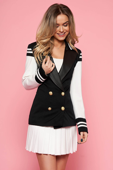Black casual lady set with a skirt from 2 pieces arched cut