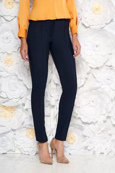 Darkblue trousers office with medium waist conical slightly elastic fabric with faux pockets