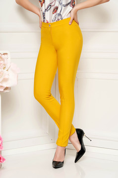 LaDonna mustard trousers with medium waist office conical slightly elastic fabric with faux pockets