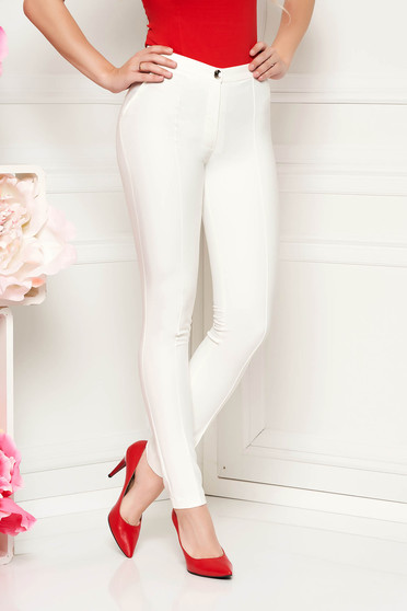 LaDonna white trousers with medium waist office conical slightly elastic fabric with faux pockets