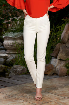 White trousers office with medium waist conical slightly elastic fabric with faux pockets