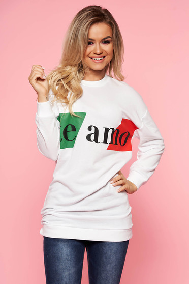 Top Secret white daily flared women`s blouse slightly elastic cotton