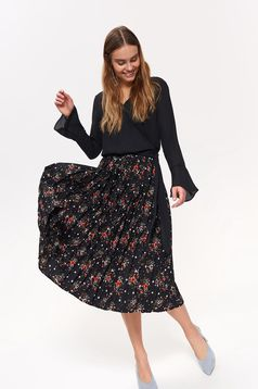 Top Secret black casual women`s blouse accessorized with tied waistband with v-neckline