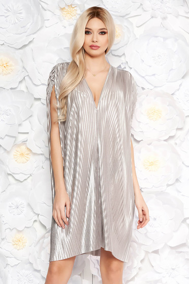 Silver occasional flared folded up dress nonelastic fabric with metallic aspect
