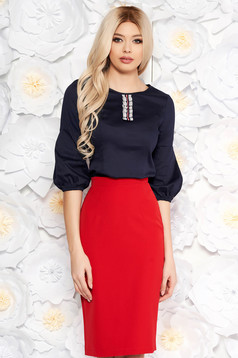StarShinerS darkblue women`s blouse with tented cut thin fabric with puffed sleeves office