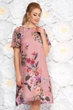Pink elegant flared dress airy fabric with floral prints