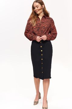 Top Secret red women`s shirt casual with easy cut with animal print