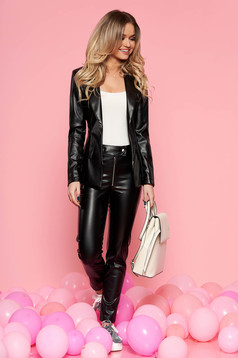 Black from 2 pieces lady set with trousers from ecological leather arched cut