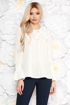 LaDonna white elegant women`s blouse with easy cut with bell sleeve flared bell sleeves ruffled collar from laced fabric