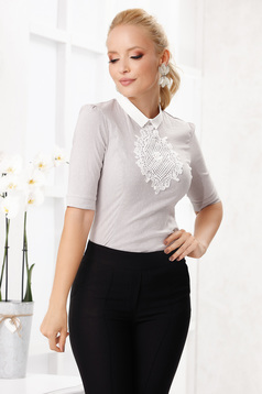 Fofy grey office women`s shirt with tented cut slightly elastic cotton knitted lace