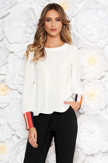 White elegant flared women`s blouse from veil fabric long sleeved