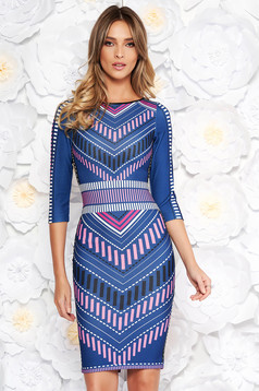 StarShinerS blue dress with tented cut from elastic fabric