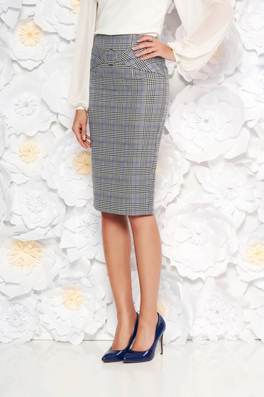 Grey high waisted pencil skirt from non elastic fabric plaid fabric