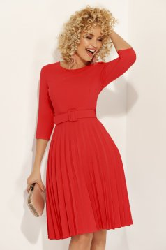 Fofy red elegant folded up cloche dress accessorized with tied waistband slightly elastic fabric