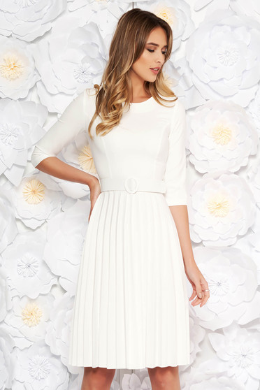 Fofy white elegant folded up cloche dress accessorized with tied waistband slightly elastic fabric