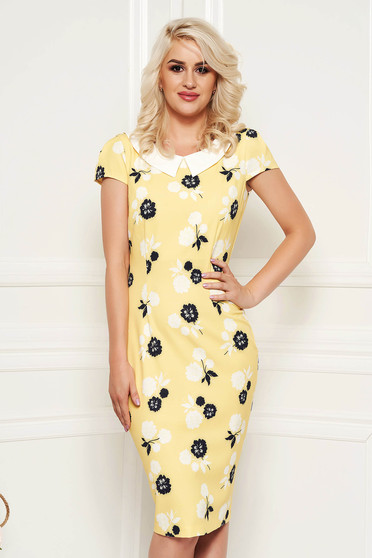 Fofy yellow dress daily pencil with floral print slightly elastic fabric