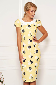 Yellow dress daily pencil with floral print slightly elastic fabric