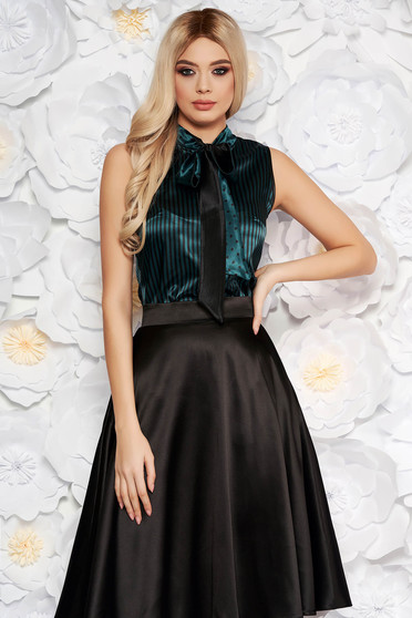 StarShinerS green elegant with easy cut women`s blouse from satin fabric texture