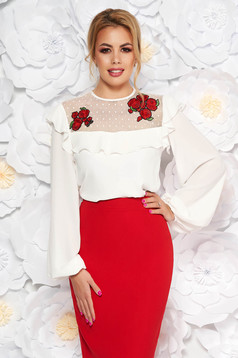 LaDonna white elegant flared women`s blouse from veil fabric with embroidery details with ruffle details