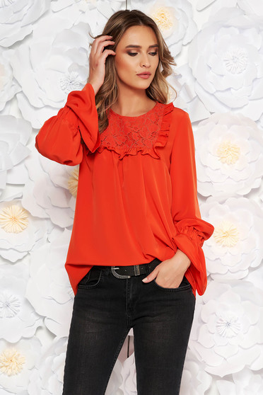 LaDonna red elegant women`s blouse with easy cut with bell sleeve flared bell sleeves ruffled collar from laced fabric