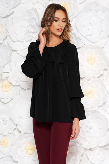 LaDonna black elegant women`s blouse with easy cut with bell sleeve flared bell sleeves ruffled collar from laced fabric