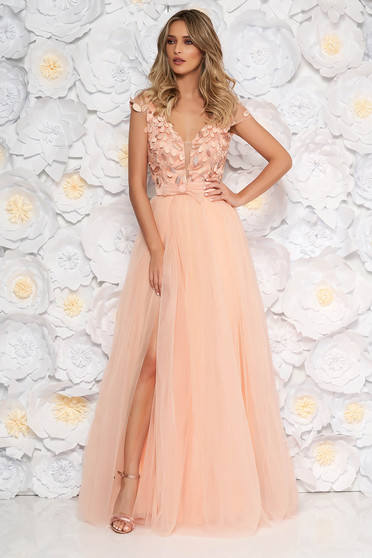 Artista peach occasional cloche dress from tulle laced with push-up cups with floral details with 3d effect
