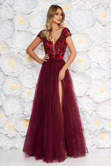 Artista burgundy occasional cloche dress from tulle laced with push-up cups with floral details with 3d effect