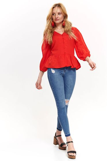 Top Secret red casual flared women`s shirt with 3/4 sleeves with ruffle details