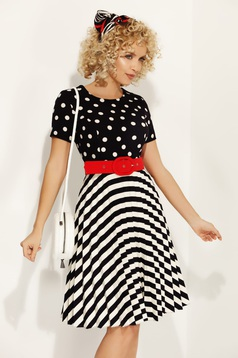 Fofy darkblue daily cloche dress dots with stripes slightly elastic fabric accessorized with belt