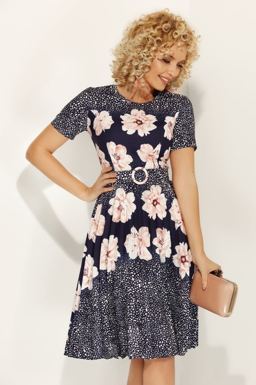 Lightpink daily cloche dress slightly elastic fabric with floral print accessorized with belt