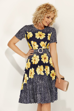 Yellow daily cloche dress slightly elastic fabric with floral print accessorized with belt