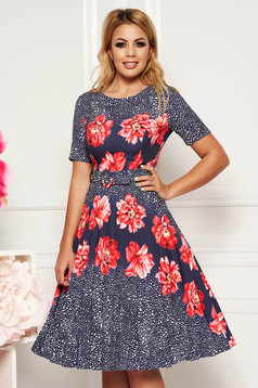 Fofy coral daily cloche dress slightly elastic fabric with floral print accessorized with belt