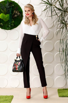 PrettyGirl black elegant high waisted trousers slightly elastic fabric with metalic accessory
