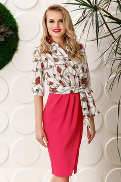 PrettyGirl white elegant midi dress with a cleavage with graphic details