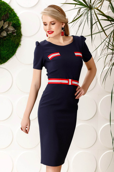 PrettyGirl darkblue daily pencil dress slightly elastic fabric with inside lining
