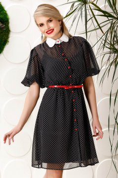 PrettyGirl black elegant daily cloche dress voile fabric dots print accessorized with belt