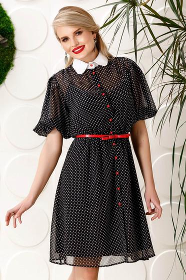 PrettyGirl black elegant daily cloche dress voile fabric dots print accessorized with belt