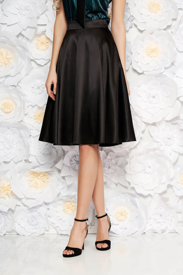 StarShinerS black elegant high waisted cloche skirt from satin