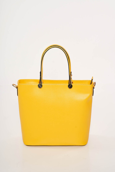 Yellow office bag natural leather long, adjustable handle