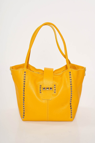 Yellow casual office leather bag with metallic spikes