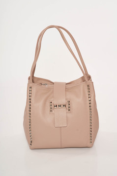 Rosa casual office leather bag with metallic spikes