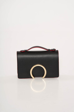 Black occasional leather bag with metalic accessory