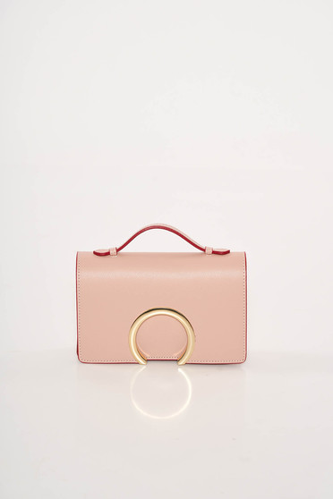 Rosa occasional leather bag with metalic accessory
