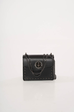 Black bag natural leather with metallic spikes long chain handle leather