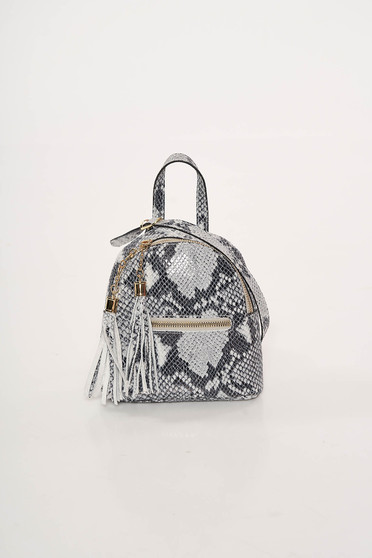 Grey bag leather with tassels